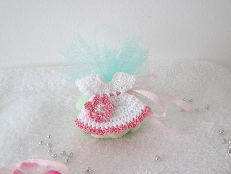 Crochet miniature pour bapt me mariage ou communion - Reduction blanche porte frais de port gratuit ...